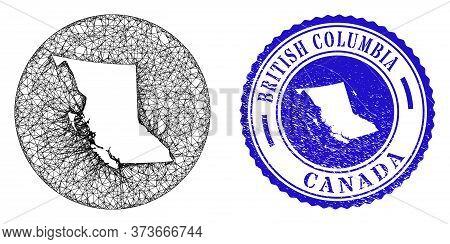 Mesh Inverted Round British Columbia Map And Grunge Seal. British Columbia Map Is Inverted In A Roun