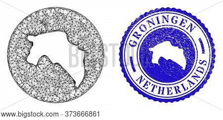 Mesh Inverted Round Groningen Province Map And Grunge Seal. Groningen Province Map Is Inverted In A