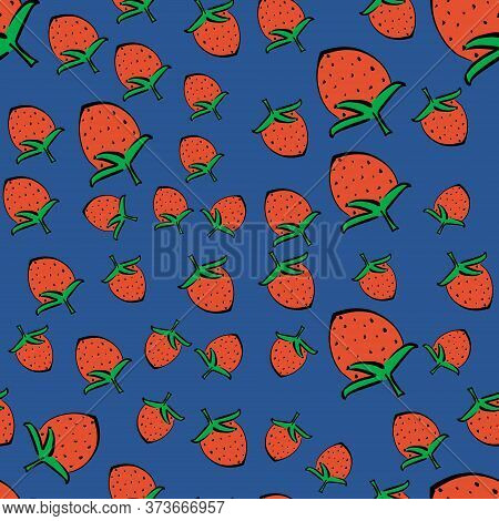 A Pattern Of Red Strawberries Drawn With A Black Outline. Illustration Of A Healthy Berry Sketch-fre