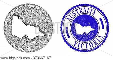 Mesh Stencil Round Australian Victoria Map And Grunge Seal Stamp. Australian Victoria Map Is Carved