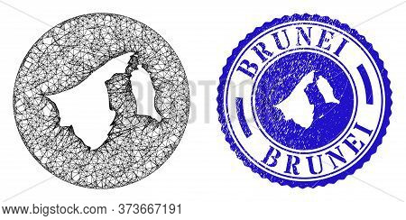 Mesh Inverted Round Brunei Map And Scratched Seal. Brunei Map Is Inverted In A Round Seal. Web Mesh