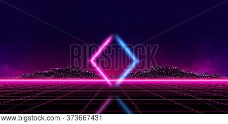 Abstract Digital Landscape With Particles Dots And Stars On Horizon. Wireframe Landscape Background.