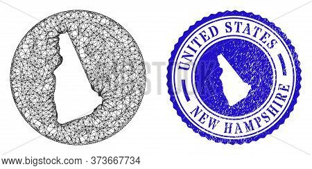 Mesh Hole Round New Hampshire State Map And Grunge Stamp. New Hampshire State Map Is A Hole In A Rou