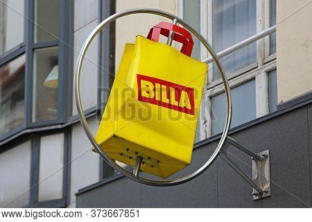 Vienna, Austria - July 12, 2015: Turning Yellow Bag Sign Of Supermarket Billa In Vienna, Austria.