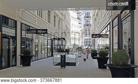 Vienna, Austria - July 11, 2015: Luxury Brand Shopping At Tuchlaubenhof Street In Vienna, Austria.