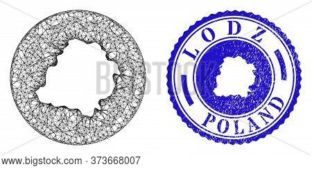 Mesh Inverted Round Lodz Voivodeship Map And Scratched Stamp. Lodz Voivodeship Map Is Inverted In A