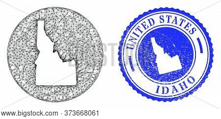 Mesh Subtracted Round Idaho State Map And Grunge Stamp. Idaho State Map Is Carved In A Round Stamp S