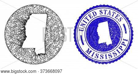 Mesh Subtracted Round Mississippi State Map And Grunge Seal Stamp. Mississippi State Map Is Carved I