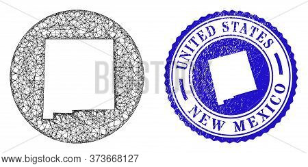 Mesh Hole Round New Mexico State Map And Grunge Seal. New Mexico State Map Is A Hole In A Circle Sea