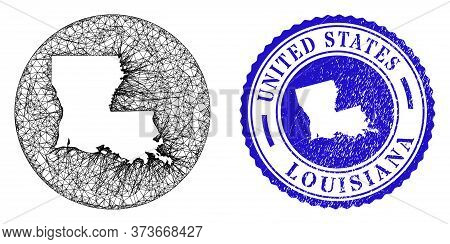 Mesh Hole Round Louisiana State Map And Scratched Seal Stamp. Louisiana State Map Is Carved In A Rou
