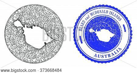Mesh Inverted Round Heard And Mcdonald Islands Map And Grunge Seal Stamp. Heard And Mcdonald Islands