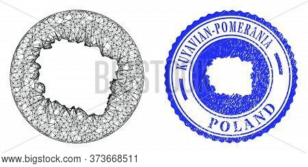 Mesh Inverted Round Kuyavian-pomeranian Voivodeship Map And Grunge Stamp. Kuyavian-pomeranian Voivod