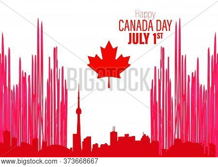 Happy Canada Day Poster. Vector Illustration Greeting Card. Canada Maple Leaves On White Background.