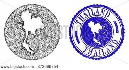 Mesh Stencil Round Thailand Map And Grunge Seal Stamp. Thailand Map Is A Hole In A Round Stamp Seal.
