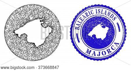 Mesh Inverted Round Majorca Map And Scratched Seal Stamp. Majorca Map Is Stencil In A Round Stamp Se