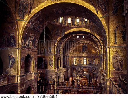 Venice, Italy - May 21, 2017: Inside Famous San Marco Or St Mark`s Basilica, It Is Top Tourist Attra