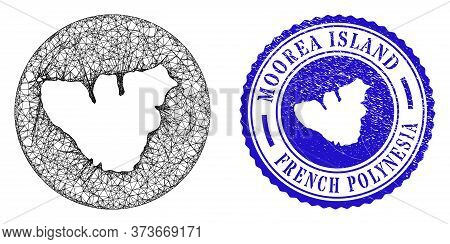 Mesh Subtracted Round Moorea Island Map And Scratched Seal Stamp. Moorea Island Map Is Subtracted Fr