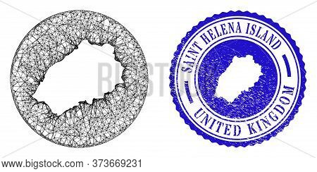 Mesh Stencil Round Saint Helena Island Map And Scratched Seal Stamp. Saint Helena Island Map Is A Ho