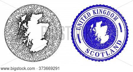 Mesh Hole Round Scotland Map And Scratched Seal Stamp. Scotland Map Is A Hole In A Circle Stamp Seal