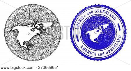 Mesh Hole Round North America And Greenland Map And Scratched Seal. North America And Greenland Map