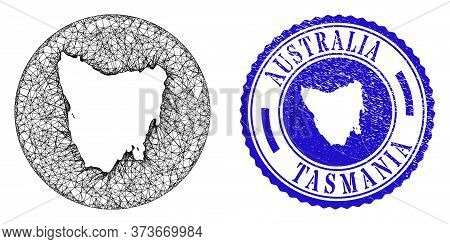 Mesh Hole Round Tasmania Island Map And Grunge Seal Stamp. Tasmania Island Map Is A Hole In A Round