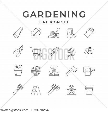 Set Line Icons Of Gardening Isolated On White. Watering Can, Rubber Boot, Lawn Mower, Pruner, Wheelb