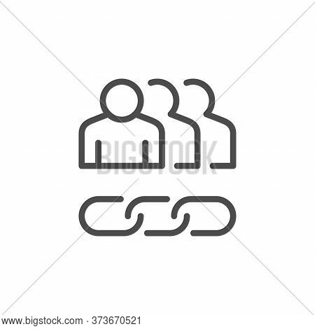 People Group Line Outline Icon Isolated On White. Team Organization Structure And Chain Sing. Vector