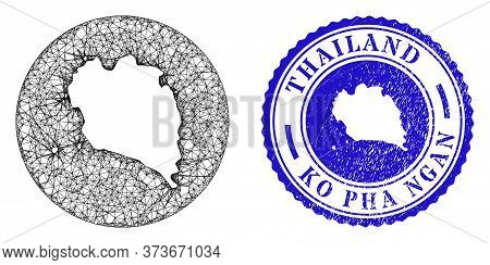 Mesh Hole Round Ko Pha Ngan Map And Grunge Seal Stamp. Ko Pha Ngan Map Is Stencil In A Circle Stamp