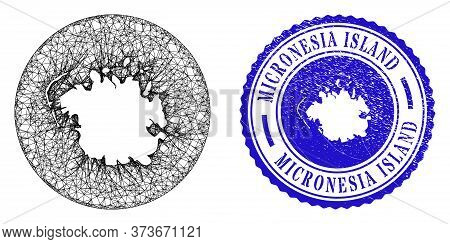 Mesh Stencil Round Micronesia Island Map And Grunge Stamp. Micronesia Island Map Is Cut Out From A C
