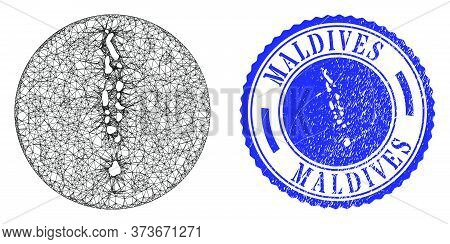 Mesh Inverted Round Maldives Map And Grunge Seal Stamp. Maldives Map Is A Hole In A Round Stamp. Web
