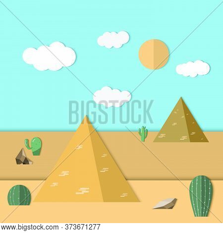 Landscape Of The Desert. Pyramid Desert Background. Vector Illustration