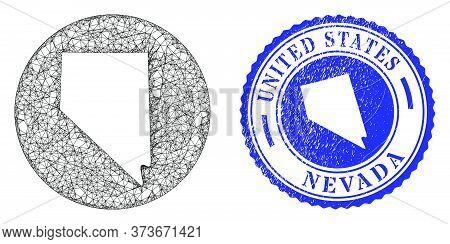 Mesh Stencil Round Nevada State Map And Grunge Stamp. Nevada State Map Is Stencil In A Round Stamp S