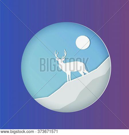 Deer In The Moonlight.deer In Snowy Forest. Merry Christmas Greeting Card. Origami Snowy Winter Seas