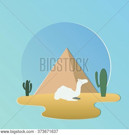 Pyramids And Oasis In Arabian Desert With Camels.camel Caravan.vector Illustration