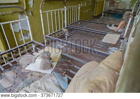 Chernobyl zone. School premises in the city of Pripyat in Ukraine. Exclusion Zone.