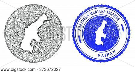 Mesh Subtracted Round Saipan Island Map And Grunge Seal Stamp. Saipan Island Map Is A Hole In A Roun