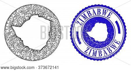 Mesh Subtracted Round Zimbabwe Map And Scratched Seal. Zimbabwe Map Is A Hole In A Circle Stamp Seal