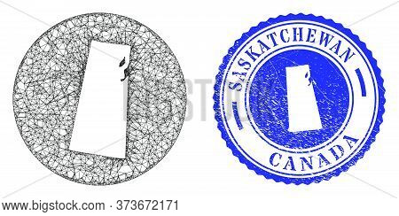Mesh Hole Round Saskatchewan Province Map And Grunge Seal Stamp. Saskatchewan Province Map Is A Hole