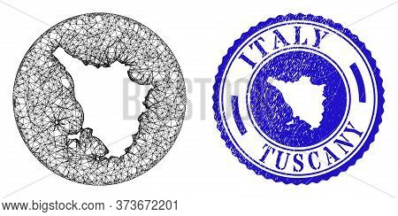 Mesh Subtracted Round Tuscany Region Map And Grunge Seal Stamp. Tuscany Region Map Is A Hole In A Ci