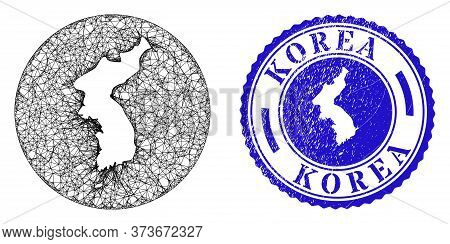 Mesh Hole Round Korea Map And Scratched Seal Stamp. Korea Map Is A Hole In A Circle Stamp. Web Netwo