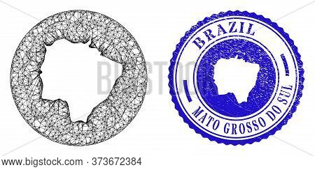Mesh Hole Round Mato Grosso Do Sul State Map And Grunge Seal Stamp. Mato Grosso Do Sul State Map Is