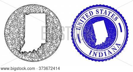 Mesh Hole Round Indiana State Map And Scratched Seal Stamp. Indiana State Map Is Carved In A Round S
