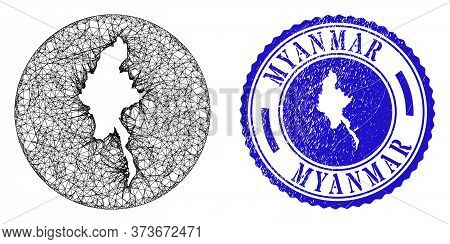 Mesh Inverted Round Myanmar Map And Grunge Seal Stamp. Myanmar Map Is Carved In A Round Seal. Web Me