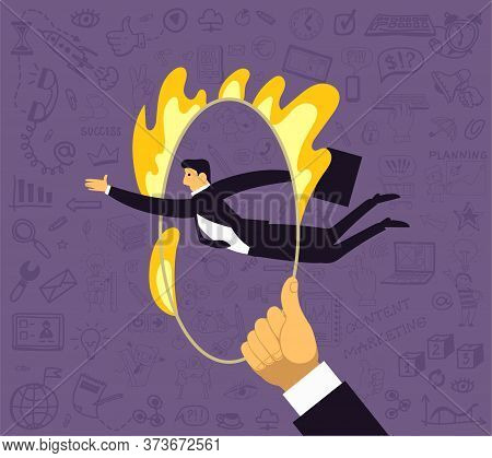 Vector Illustration. A Man Jumps Through A Ring Of Fire. Surrounded By Drawings On A Business Theme.