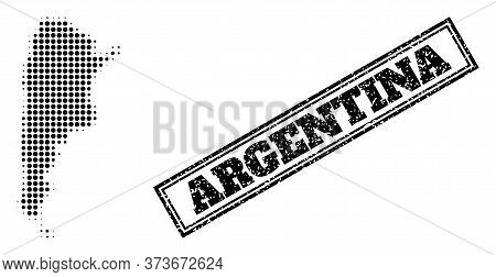 Halftone Map Of Argentina, And Dirty Watermark. Halftone Map Of Argentina Designed With Small Black