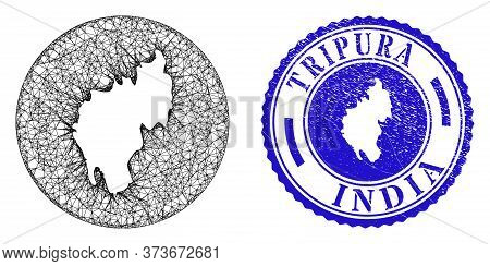 Mesh Subtracted Round Tripura State Map And Grunge Seal Stamp. Tripura State Map Is A Hole In A Circ