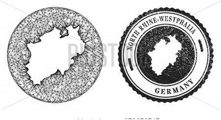 Mesh Stencil Round North Rhine-westphalia Land Map And Scratched Seal. North Rhine-westphalia Land M