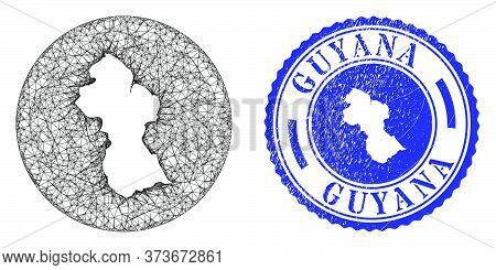 Mesh Inverted Round Guyana Map And Scratched Seal Stamp. Guyana Map Is A Hole In A Circle Seal. Web