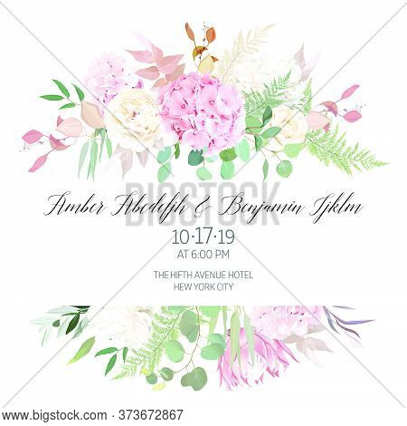 Dusty Pink Blush, White And Creamy Hydrangea, Peony Flowers Vector Design Wedding Frame. Eucalyptus,