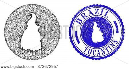 Mesh Hole Round Tocantins State Map And Grunge Seal Stamp. Tocantins State Map Is A Hole In A Circle